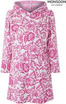 Next Girls Monsoon Ivory/Pink Opal Long Sleeve Towelling Cover-Up - Cream