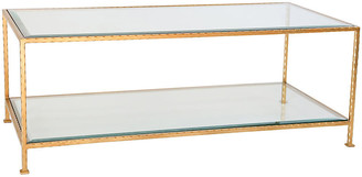 Ave Home Chloe Glass Coffee Table - Gold Leaf