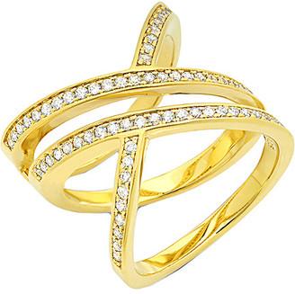 Crislu 18K & Silver Cz Criss-Cross Ring