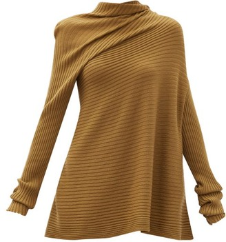 Marques Almeida Asymmetric Ribbed Merino-wool Sweater - Khaki