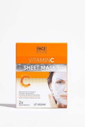 Nasty Gal Womens Glow For It 2-Pc Vitamin C Sheet Mask Set - White