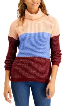 Planet Gold Juniors' Colorblocked Turtleneck Sweater