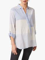 Phase Eight Giana Patchwork Shirt, Blue/White