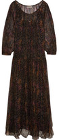 Mes Demoiselles Katarina Crinkled Printed Georgette Maxi Dress - Brown