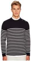 Eleventy Shoulder Button Stripe Crew Neck Sweater