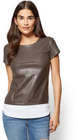 New York & Co. Faux-Leather Twofer Tee
