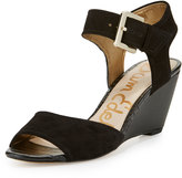 Sam Edelman Shirley Suede Demi-Wedge Sandal, Black