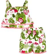 River Island Girls Green tropical flamingo crop top outfit