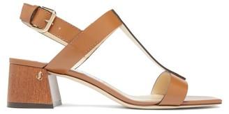 Jimmy Choo Jin 45 Square-toe Leather Sandals - Womens - Tan
