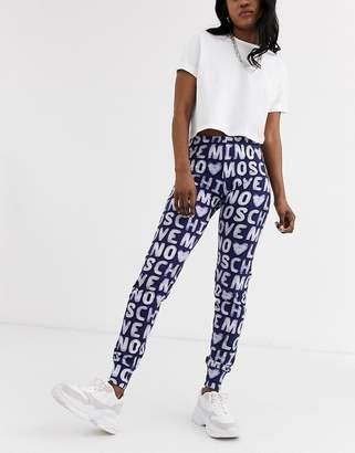 Love Moschino allover logo joggers-Blue