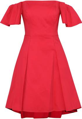 Halston Off-the-shoulder Cotton-blend Dress