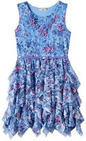 Knitworks Girls 7-16 Floral Chiffon Corkscrew Skirt Dress with Belt & Necklace