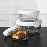 Crate & Barrel Anchor Hocking Embossed Glass 6-Piece Food Storage with TrueSeal White Lids