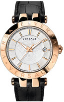 Versace 'V-Race' Leather Strap Watch, 42Mm