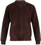 Calvin Klein Collection Satin-trimmed suede bomber jacket