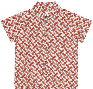 BURBERRY KIDS Desmond Monogram cotton shirt