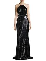 Halston Sequin Cut Out Floor Length Dress