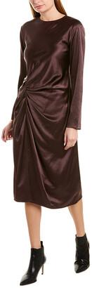 Helmut Lang Crinkled Silk-Trim Dress