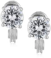 Anne Klein Silver-Tone Cubic Zirconia Stud Clip-On EarringsEarrings