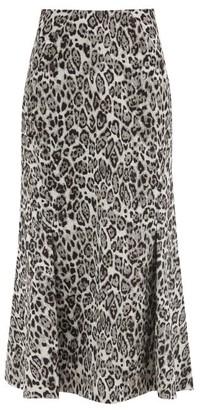 Erdem Ivetta Leopard-jacquard Cotton-blend Skirt - Light Grey