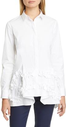 Lela Rose Ruffle Flare Hem Stretch Poplin Shirt