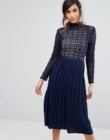 Little Mistress Premium Lace Pleated Midi Dress
