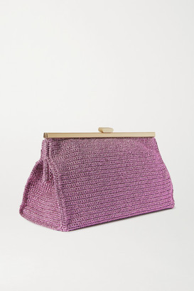 Mizele - Bourse Crochet-knit Lurex Clutch - Lilac