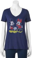 Disney Disney's Mickey & Minnie Mouse Juniors' Holding Hands Graphic Tee