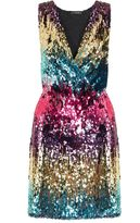 Quiz Pink Blue And Gold Sequin Wrap Front Dress