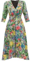 Saloni Eve Abstract Floral-print Silk Dress - Womens - Green Multi