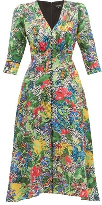 Saloni Eve Abstract Floral-print Silk Dress - Womens - Green Multi