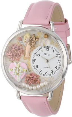 Whimsical Watches Valentine's Day Pink Pink Leather and Silvertone Unisex Quartz Watch with White Dial Analogue Display and Multicolour Leather Strap U-1220024