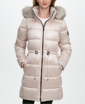 DKNY Petite High-Shine Faux-Fur Trim Hooded Puffer Coat