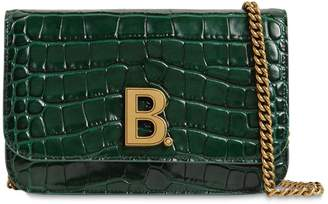Balenciaga BDOT CROC EMBOSSED LEATHER CHAIN WALLET