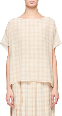 The Row Lylia Squiggle-Print Silk Tee