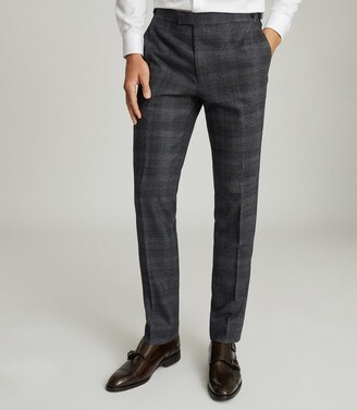 Reiss Dream - Checked Slim Fit Trousers in Navy