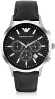 Emporio Armani Stainless Steel Chronograph Watch w/Embossed Leather Strap