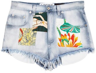 Loewe x Paula's Ibiza Printed Patch Denim Shorts