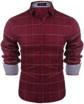 Hasuit Men's Fashion Cowboy Cut Long-Sleeve Button Down Shirt (M, )