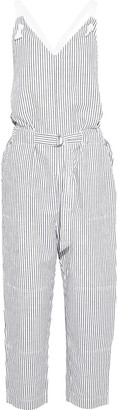 Rag & Bone Ellen Cropped Striped Cotton And Linen-blend Jumpsuit