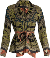Etro Paisley-print tie-waist silk top