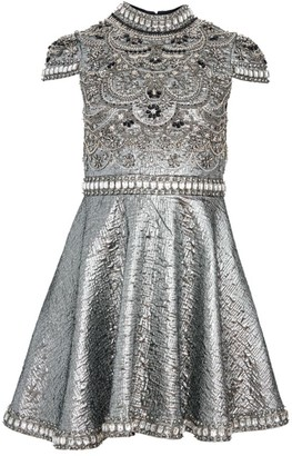 Alice + Olivia Floretta Metallic Embroidered Mini A-Line Dress