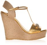 Gucci Raffia Horsebit Wedges