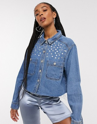 Signature 8 denim shirt with stud detail in mid wash