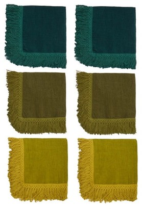Once Milano - Set Of Six Tasselled Linen Napkins - Green Multi