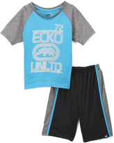 Ecko Unlimited Turquoise & Gray 'Ecko Unlted 72' Tee & Shorts - Toddler & Boys