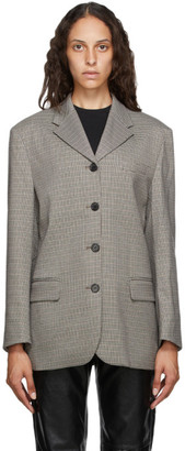 ANDERSSON BELL Brown and Black Houndstooth Four-Button Blazer