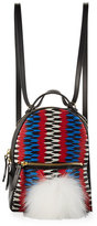Les Petits Joueurs Baby Mick Chevron Backpack with Fur