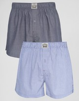 Levis Chambray Stripe Woven Boxers In 2 Pack Blue