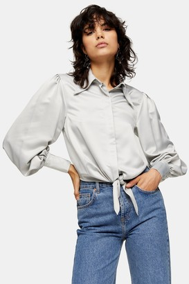 Topshop Womens Silver Collar Satin Knot Front Blouse - Silver